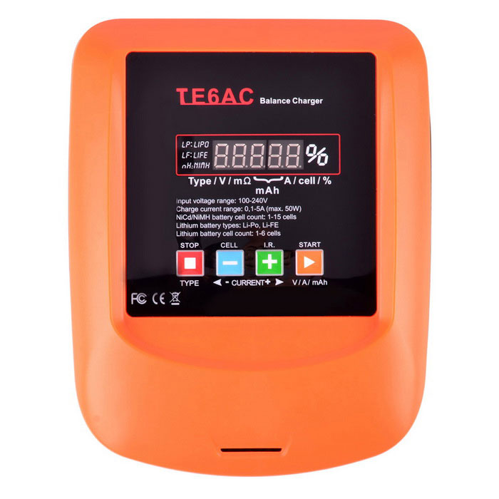 TE6AC Battery Charger Built-in Adapter LCD Voltage Indicator Charger