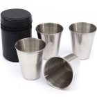 4-in-1 Stianless Steel Mini Spirit Cup Set - Bright Silvery Grey
