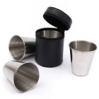 4-in-1 Stainless Steel Mini Spirit Cup Set - Bright Silvery Grey