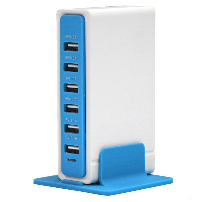 30W 6 portas USB 6A 100 ~ 240V USB Power Socket - Azul + Branco (US Plugs)