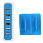 30W 6 USB Ports 6A 100~240V USB Power Socket - Blue + White (US Plugs)