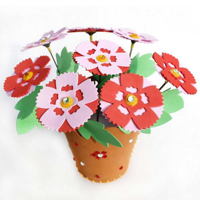 DIY Carnation + EVA Potted Paste Artificial Flowers Jigsaw PuzzleBlocks &amp; Jigsaw Toys<br>Form  ColorGreen + Orange + Multi-ColoredMaterialEVAQuantity1 DX.PCM.Model.AttributeModel.UnitNumber37Size20*10.5Suitable Age 3-4 years,5-7 years,8-11 years,12-15 years,Grown upsPacking List8 * Flowers1 * Faceplate1 * Puzzle book<br>