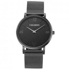 CAGARNY Roman Numerals Stainless Steel Wristband Quartz Watch - Black
