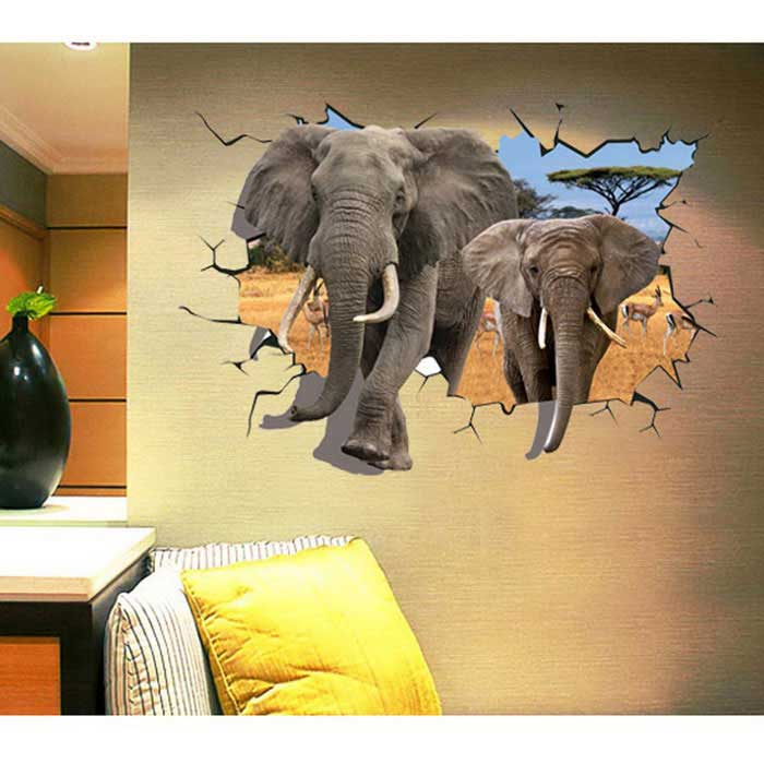Removable Decorative DIY 3D Elephant Style Wall Stickers - Dark Brown