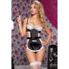 Europe Sexy Halter Dress Sweet Princess Maid Sexy Suit - Black + White