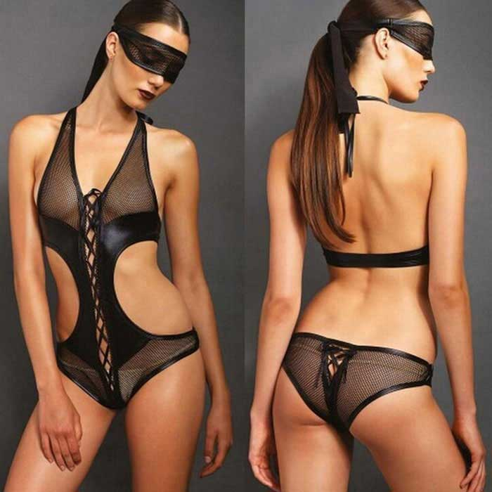 Backless Sexy Underwear Siamese Tight w/ Mask - Black