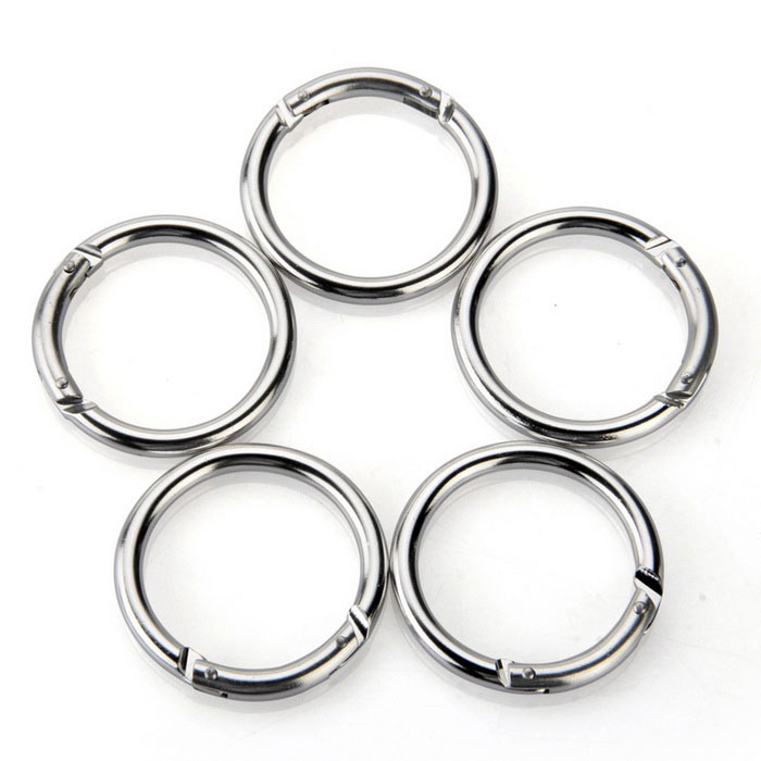 Carabiner Keychain Key Ring Chains Hook Round Circle - Silver (5 PCS)