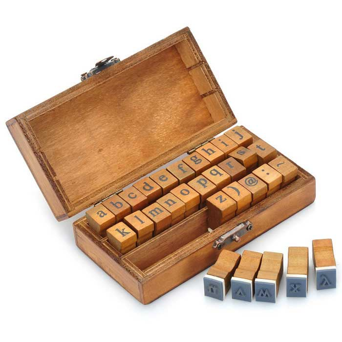 Retro Style Alphabet Number Pattern Wooden Stamp Set - Brown