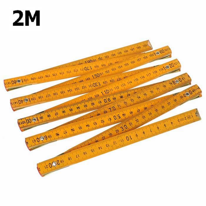 2m Foldable Wooden Folding Ruler - Yellow