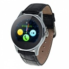 "Eastor K88H 1.22"" Round Screen Leather Strap IP54 Smart Watch - Black"