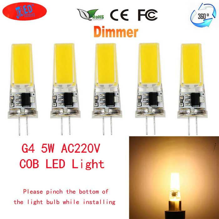 JRLED G4 5W 24-COB Warm White LED Light Bulbs (AC 220V / 5PCS)