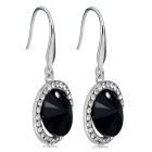 Xinguang Women's Simple Fashion Crystal Earrings - Black + Silver