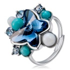 Xinguang Women's Butterfly Style Crystal Decorated Ring - Silver