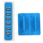 30W 6 USB 6A 100 ~ 240V socket rectangular USB - blanco + azul (enchufe eu)