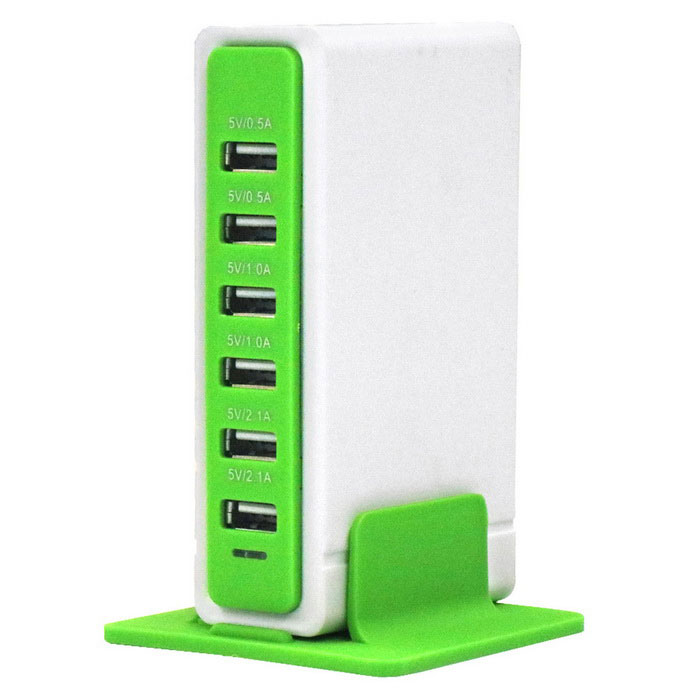 30W 6 USB 6A 100~240V Rectangular USB Socket - White + Green (EU Plug)