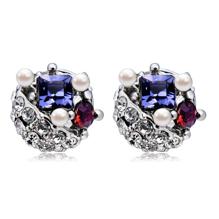 Xinguang Women's Diamond Pearl Earrings - White + Purple