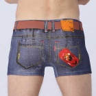 3D Denim Pants Waist Belt Printing Boxer Underwear - Blue (M)