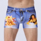 3D Denim Pants Beauties Printing Boxer Underwear - Blue + White (L)