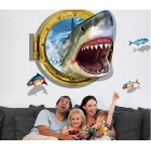 Removable DIY 3D Shark Personalized Decorative Wall Sticker - Blue