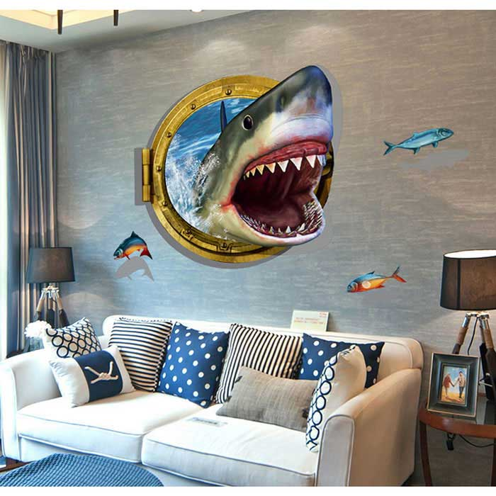 Http Www Dx Com P Removable Diy 3d Shark Personalized Decorative Wall Sticker Blue 444864