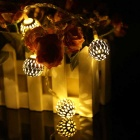 11.3ft LED Warm White 20-LED and Metal Ball Twinkle Light String
