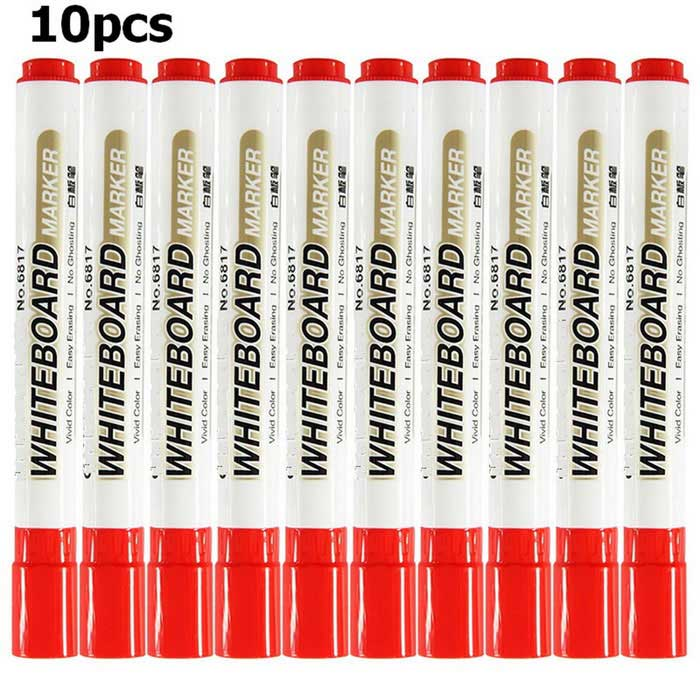 6817 Erasable High-capacity Whiteboard Pens - Red (10PCS)
