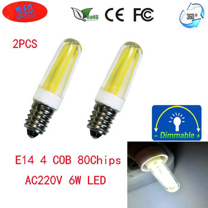 JRLED E14 Dimmable 6W 600lm 4-COB Cold White Light Ceramic Bulbs(2PCS)