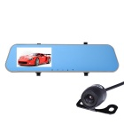"Dual Lens 4.3"" Rearview Mirror Recorder w/ Night Vision - Black + Gold"