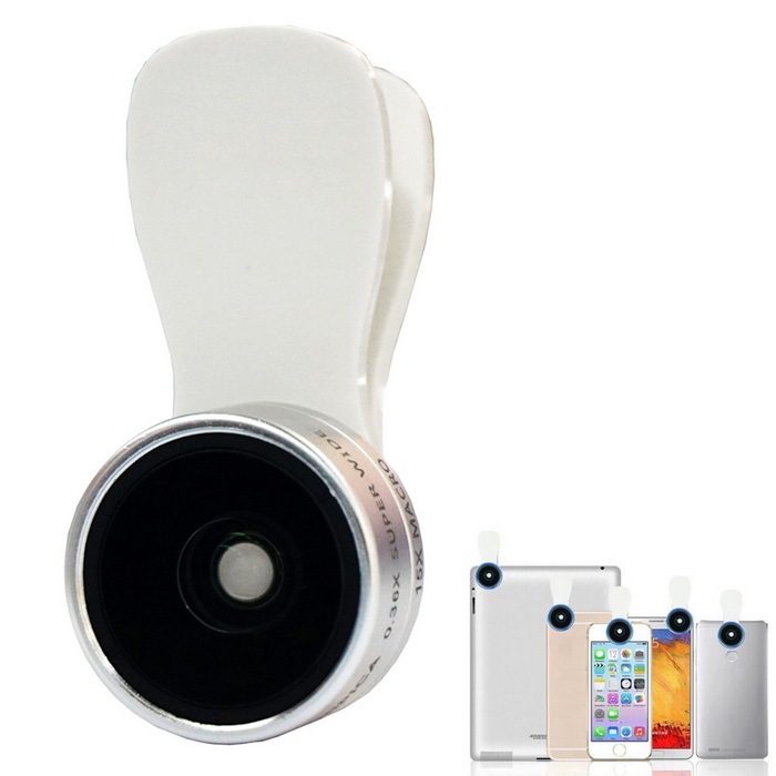 0.36X Wide Angle + 15X Macro Lens for Cell Phone - Silver + White