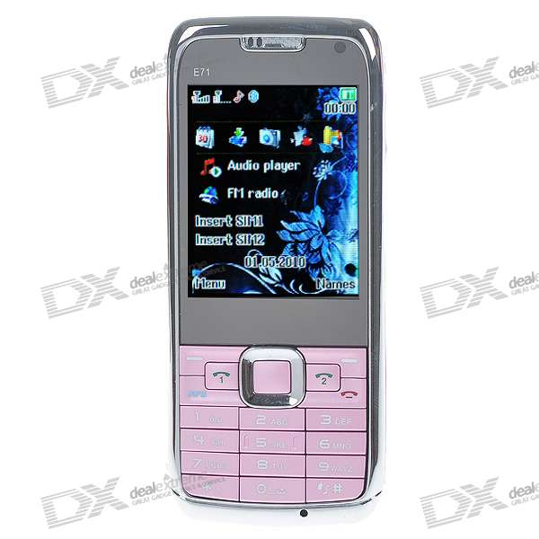 "E71 2,2 ""LCD Dual SIM Dual Network Standby Quadband GSM Handy w / FM + Taschenlampe (Pink)"