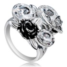 Xinguang Women's Rose + Butterfly Crystal Decorated Ring (US Size 6)