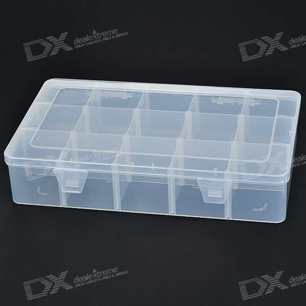 15 Compartment Plastic Storage Box for Electronic Components/Small Gadgets jm x4 components adsorption bracelet powerful magnetic wristband hold small metal nuts washers screws nails jakemy