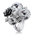 Xinguang Women's Rose + Butterfly Crystal Decorated Ring (US Size 7)
