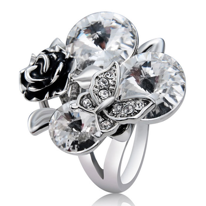Xinguang Women's Rose + Butterfly Crystal Decorated Ring (US Size 9)