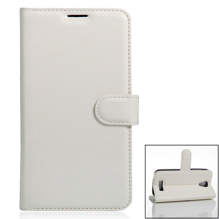 PU Leather Full Body Case Cover w/ Card Slots for Doogee X3 - White