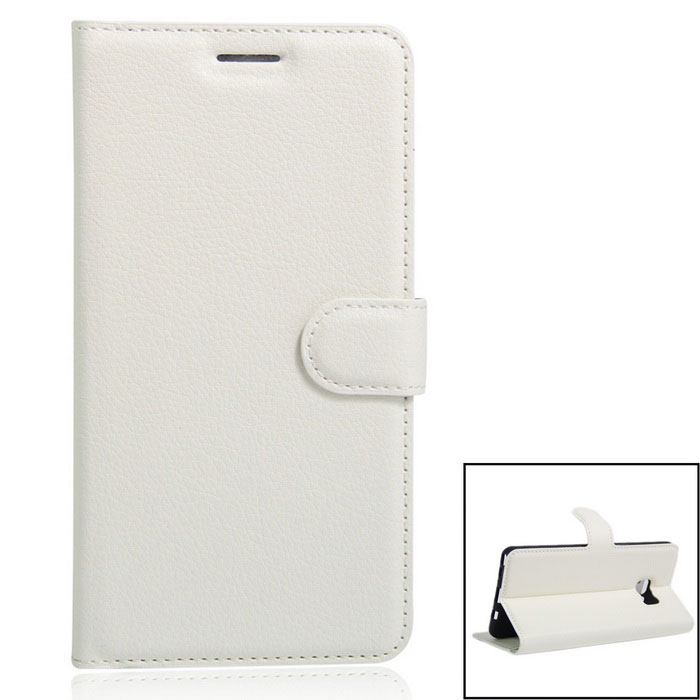 PU Leather Wallet Cases w/ Card Slots Stand for Samsung Note 7 - White