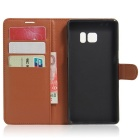 PU Leather Wallet Cases w/ Card Slots Stand for Samsung Note 7 - Brown