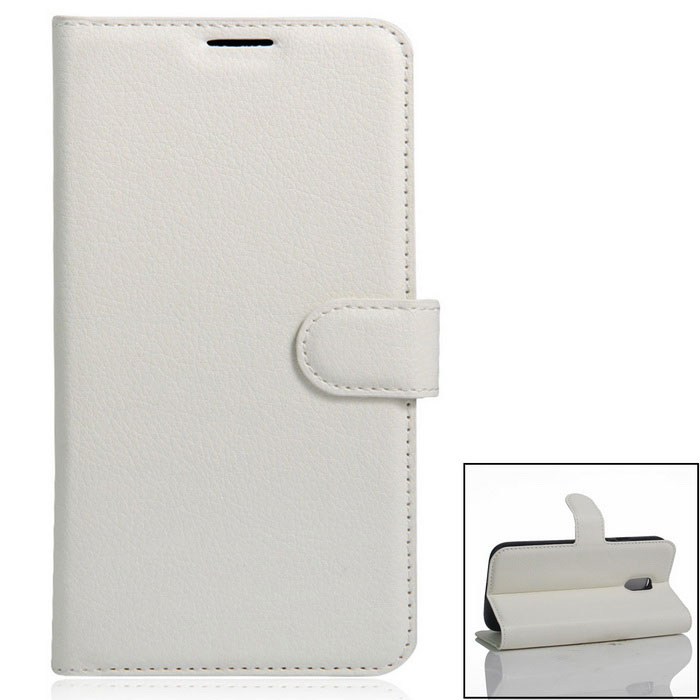 PU Leather Wallet Cases w/ Card Slots for Xiaomi Redmi Pro - White