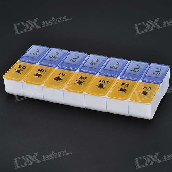 Detachable Twice-a-Day Weekly Day/Night Sections Plastic Medicine Organizer Pill Box