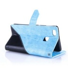 PU Leather Wallet Cases w/ Stand for Huawei P9 Lite - Sky Blue + Black