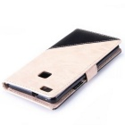 PU Leather Wallet Case w/ Stand for Huawei P9 Lite - Off-white + Black