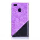 PU Leather Wallet Case w/ Stand for Huawei P9 Lite - Purple + Black