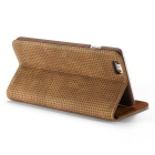 Mesh PC + PU Flip Wallet Case for IPHONE 6S Plus / 6 Plus - Brown