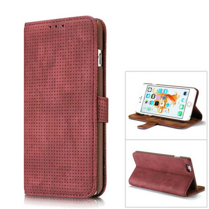 Malla PC + PU flip cartera cubierta caso para IPHONE 6S plus / 6 plus - rojo