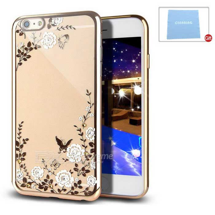 Flowers Patterned TPU Crystal Case Cover for IPHONE 6/6S - Gold