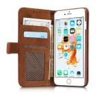 Mesh Protective PC + PU Wallet Cover Case for IPHONE 6S / 6 - Brown