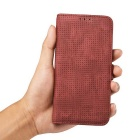 Mesh Protective PC + PU Wallet Cover Case for IPHONE 6S / 6 - Red