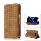 PC + PU Flip Wallet Cover Case for Samsung Galaxy S7 Edge - Brown