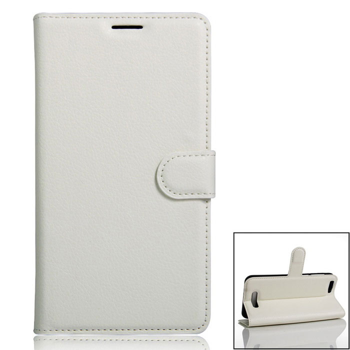PU Leather Wallet Case w/ Card Slots for Cubot Dinosaur - White