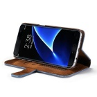 PC + PU Flip Wallet Cover Case for Samsung Galaxy S7 Edge - Blue